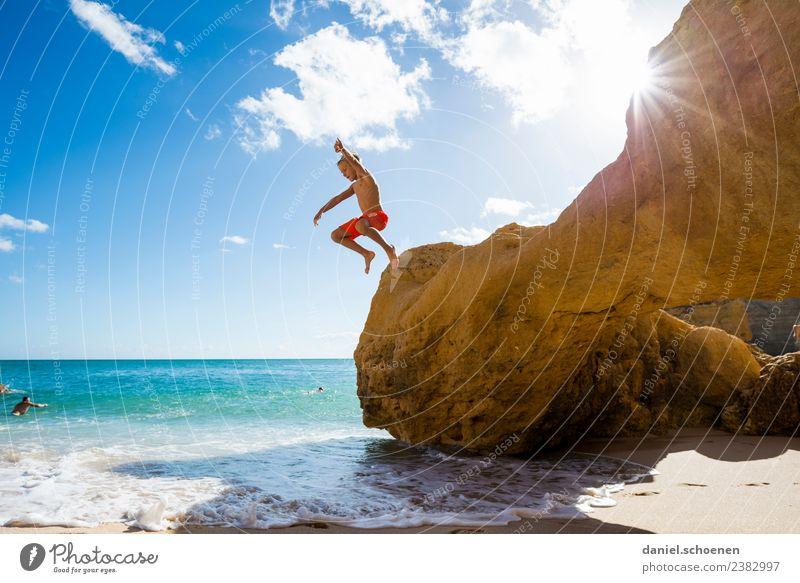 Child Human being Vacation & Travel Summer Sun Ocean Joy Beach Emotions Coast Happy Boy (child) Tourism Contentment Jump Masculine