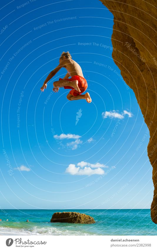 take a plane Vacation & Travel Summer Summer vacation Beach Ocean Human being Masculine Boy (child) 1 8 - 13 years Child Infancy Sky Flying Jump Blue Emotions