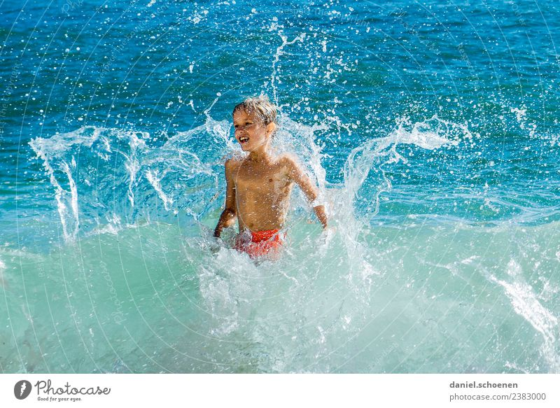 the other day in the sea Joy Vacation & Travel Tourism Summer Summer vacation Sun Beach Ocean Human being Masculine Boy (child) 1 8 - 13 years Child Infancy