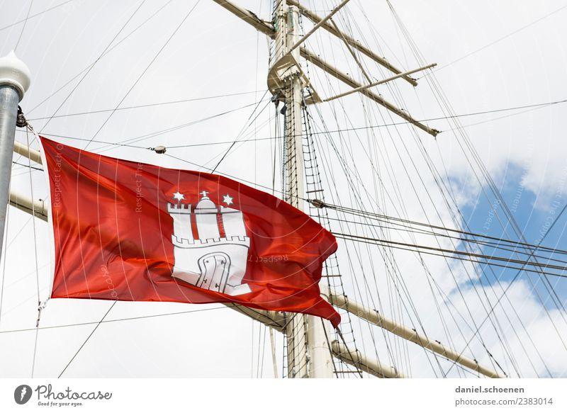 Vacation & Travel White Red Tourism Bright Hamburg Flag Sailing ship Coat of arms