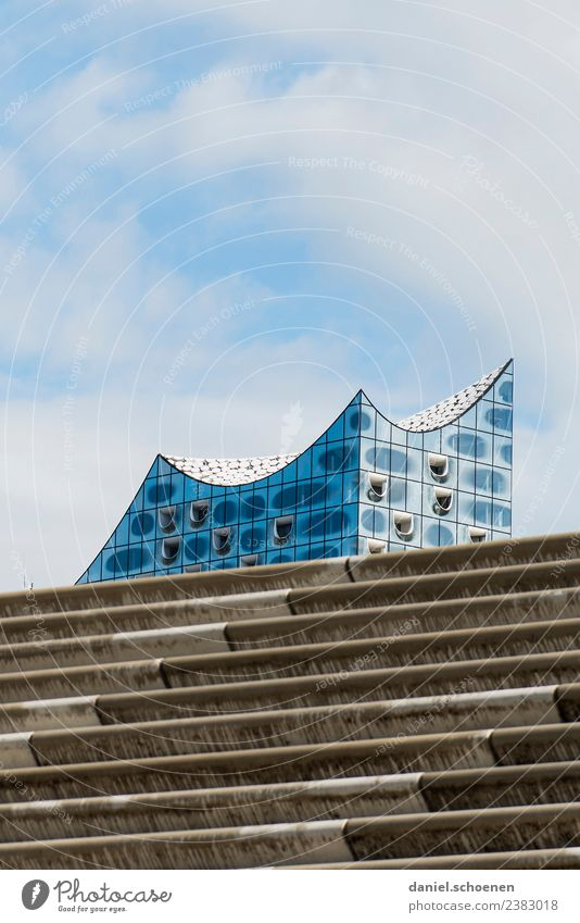Hamburg staircase Architecture Stairs Facade Tourist Attraction Landmark Elbe Philharmonic Hall Modern Blue Gray White Uniqueness Elegant Subdued colour