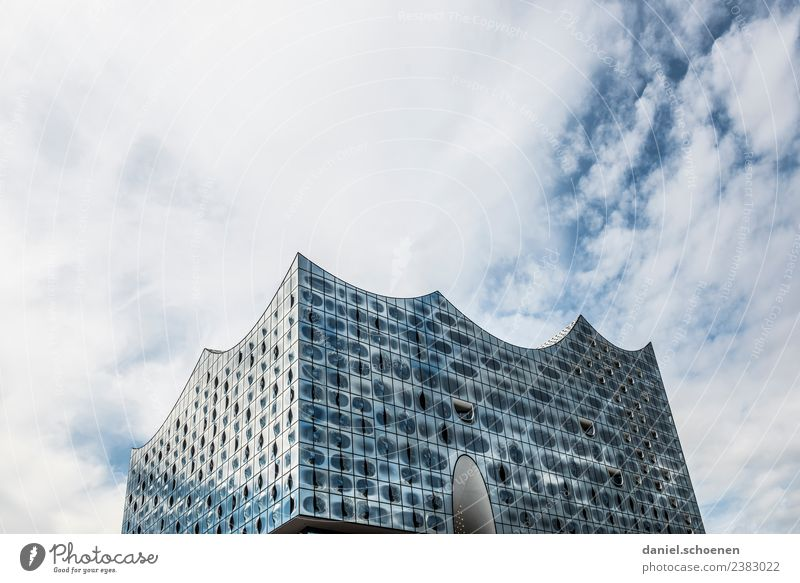 Vacation & Travel Blue White Architecture Building Tourism Gray Hamburg Tourist Attraction Landmark City trip Elbe Philharmonic Hall