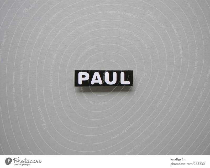 Who's Paul? Characters Signs and labeling Sharp-edged Gray Black White first name Masculine Letters (alphabet) Capital letter Black & white photo Studio shot