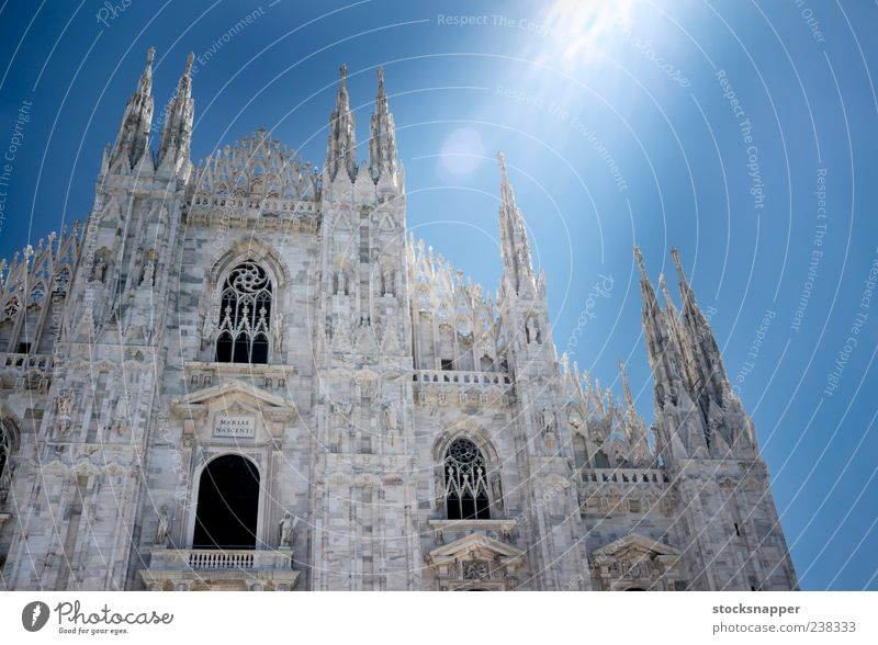 Milan Old Day Lighting Flare Sunlight Light (Natural Phenomenon) Facade Lombardy Italian Italy Building Dome duomo