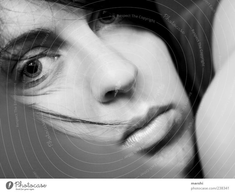 Human being Woman Adults Feminine Emotions Head Sadness Lie Near Fatigue Snapshot Exhaustion Woman`s mouth Women's eyes Woman's nose