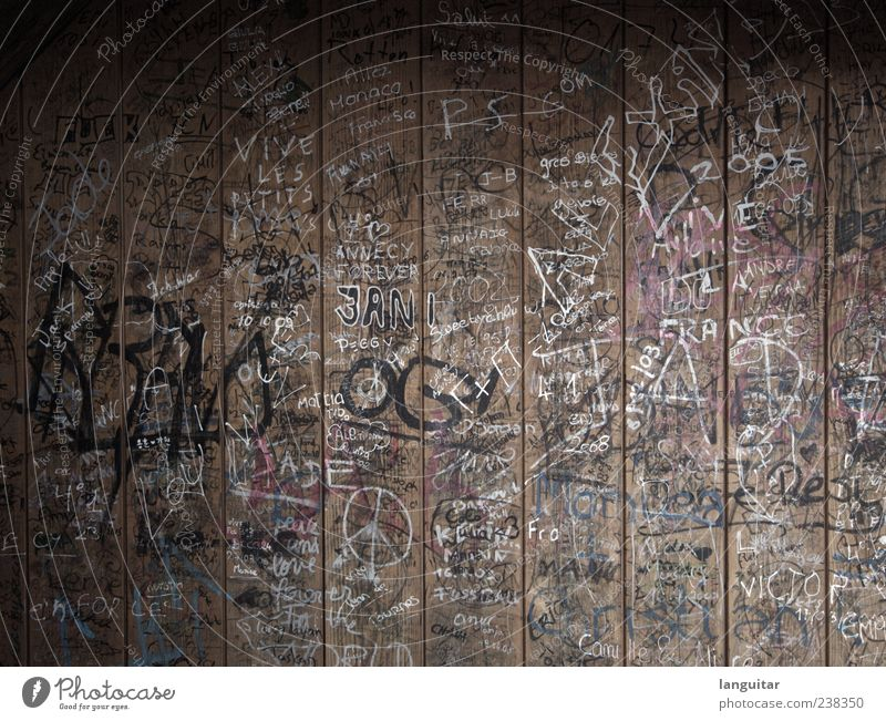Old Wall (building) Wood Style Dirty Broken Letters (alphabet) Hut Chaos Muddled Youth culture Wooden wall Inscription Scribbles