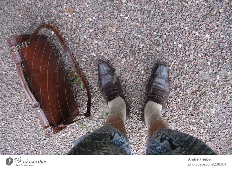 your own style Lifestyle Masculine Man Adults Legs Feet 1 Human being Pebble Pants Stockings Shorts Bag Footwear Leather shoes Stone Stand Hip & trendy Trashy
