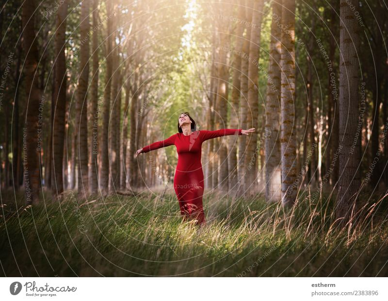 happy girl enjoying life and freedom in the forest Woman Human being Vacation & Travel Youth (Young adults) Young woman Beautiful Eroticism Joy Forest Adults