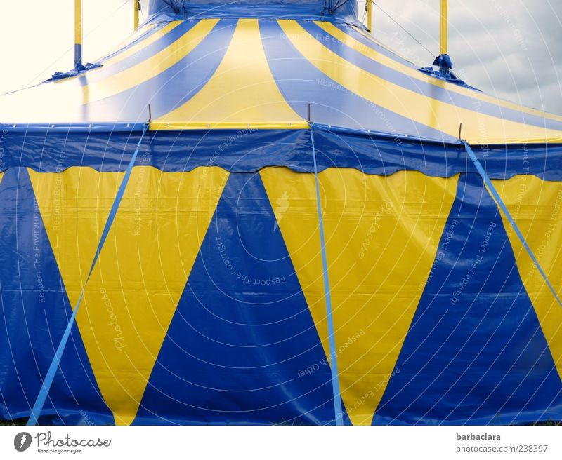 circus performance Fairs & Carnivals Circus Circus tent Sky Clouds Summer Fantastic Large Blue Yellow Culture Colour photo Exterior shot Deserted Day