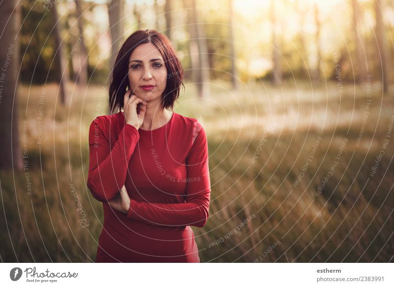 thoughtful woman in the forest Lifestyle Elegant Style Joy Wellness Freedom Human being Feminine Young woman Youth (Young adults) Woman Adults 1 30 - 45 years