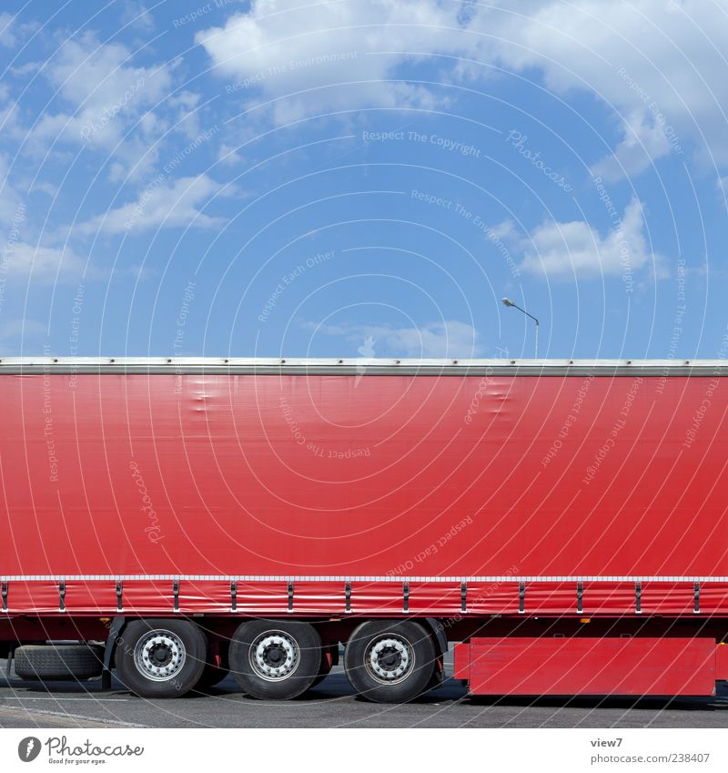 Red Transport Modern Esthetic New Logistics Authentic Simple Pure Truck Vehicle Parking Partially visible Stagnating Section of image Covers (Construction)