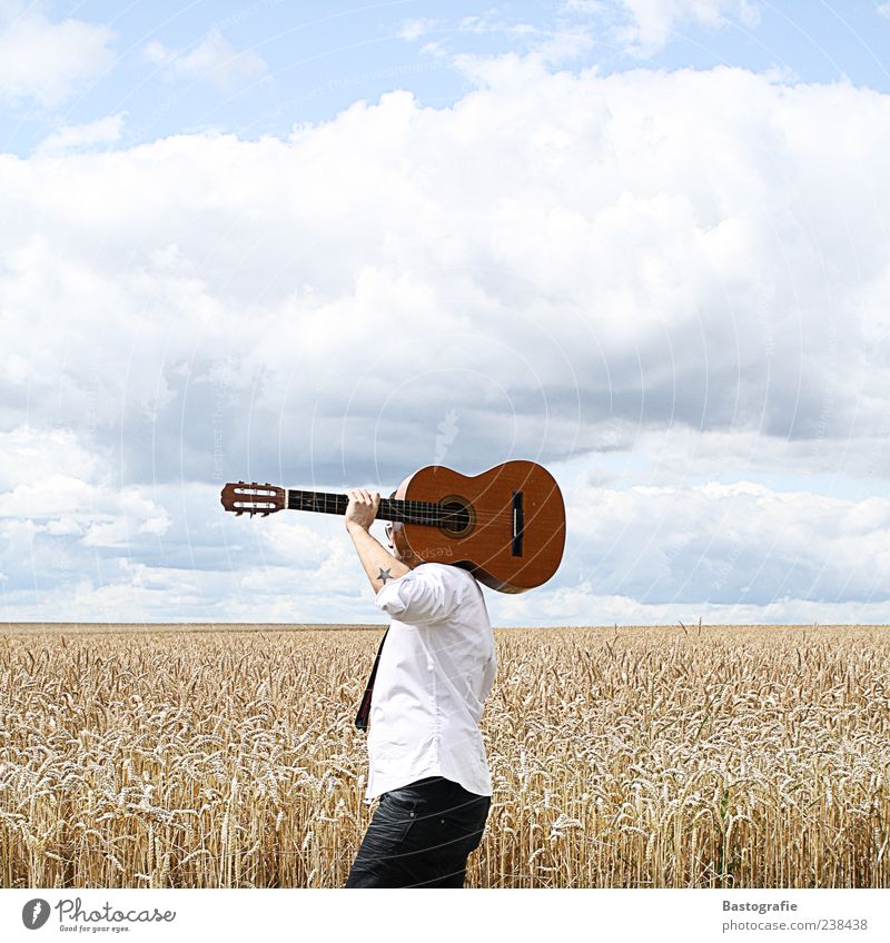 Walk this Way 1 Human being Music Guitar Free Musical instrument Singer Field Colour photo Wheatfield Musician Shoulder Carrying Tattoo Underarm