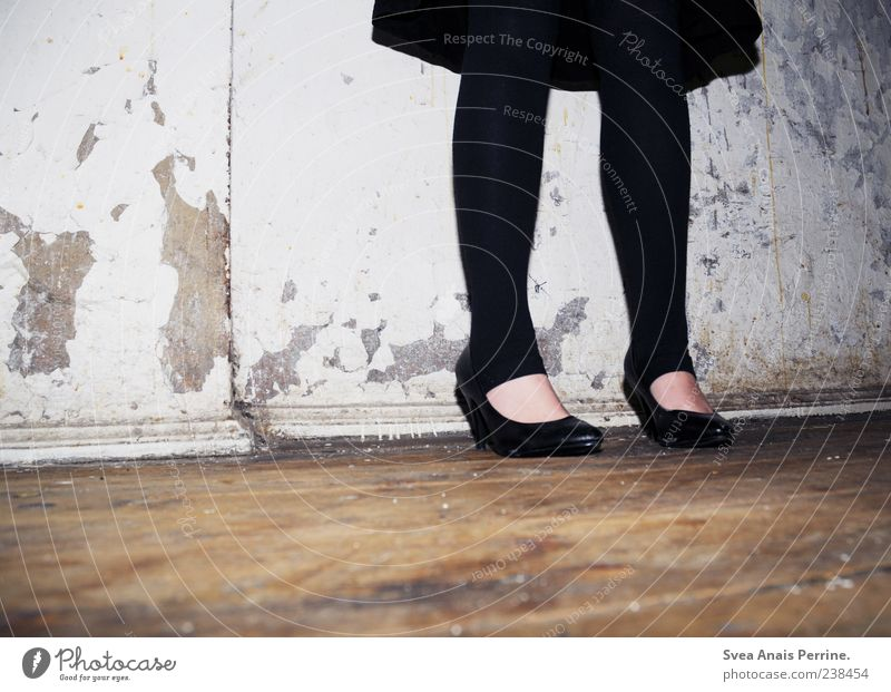 Human being Feminine Wall (building) Wall (barrier) Style Fashion Footwear Facade Dirty Young woman Stand Lifestyle Cool (slang) Uniqueness Dress Derelict