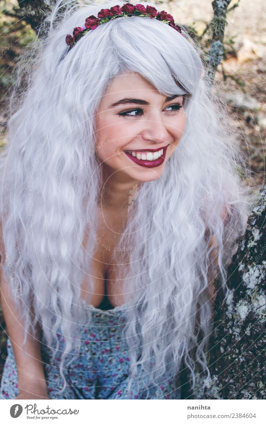 Cheerful young woman wearing a gray wig Human being Nature Youth (Young adults) Young woman Beautiful Tree Joy 18 - 30 years Adults Lifestyle Feminine Style