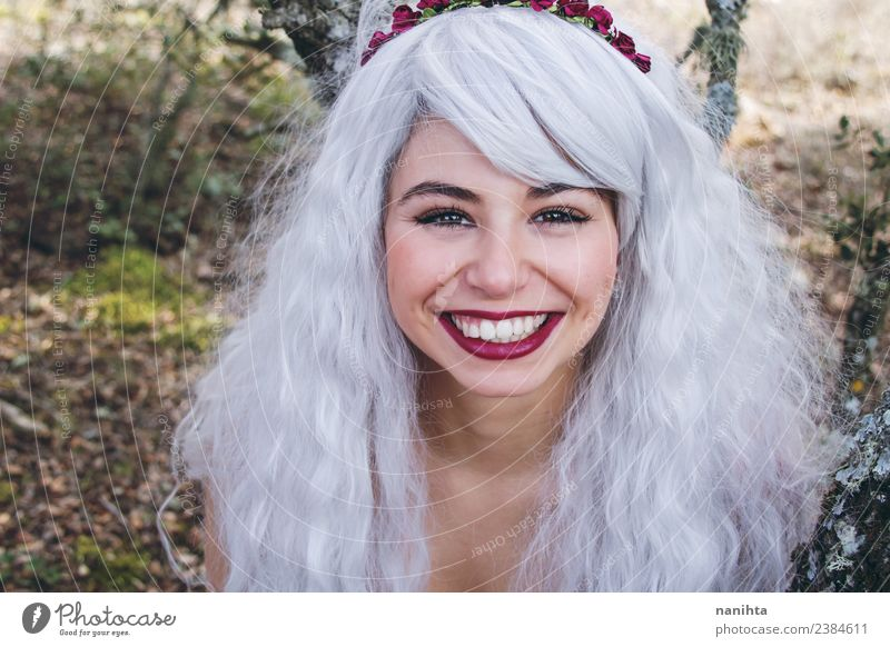 Cheerful young woman with long gray hair Human being Nature Youth (Young adults) Young woman Beautiful Joy 18 - 30 years Face Adults Lifestyle Environment