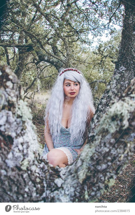 Young woman alone in the forest Style Exotic Hair and hairstyles Human being Feminine Youth (Young adults) 1 18 - 30 years Adults Environment Nature