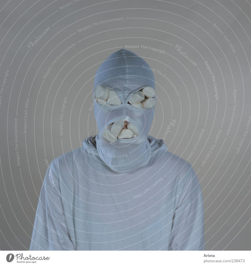 marshmallow terrorist Candy Androgynous 1 Human being fabric mask Threat Creepy Rebellious Crazy White Apocalyptic sentiment Cold Whimsical Colour photo