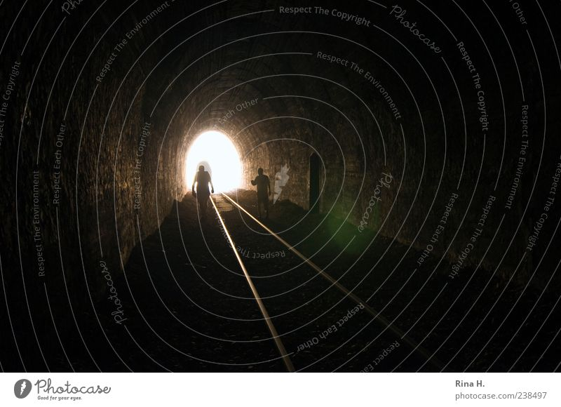 Human being Loneliness Dark Bright Going Masculine Search Hope Railroad tracks Illuminate Tunnel Rail transport