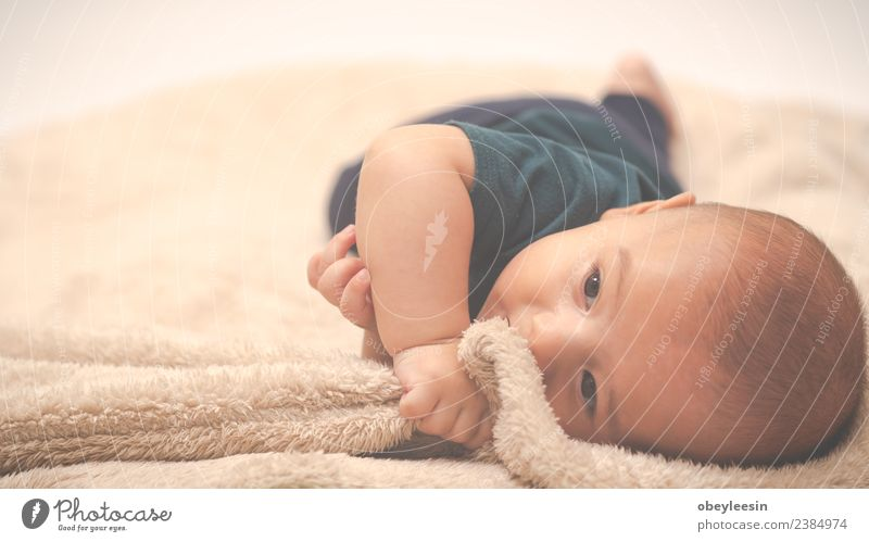 Portrait of a crawling baby on the bed in his room Happy Beautiful Face Bathroom Child Human being Baby Toddler Boy (child) Woman Adults Infancy Toys Smiling