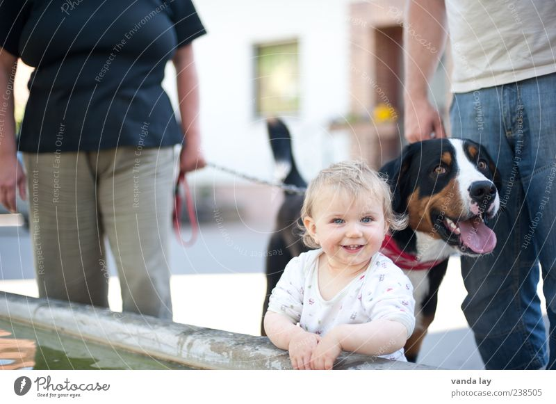 Dog Human being Woman Child Man Water Animal Adults Life Group Family & Relations Baby Infancy Trip Happiness To go for a walk
