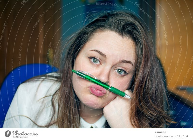 bored young student playing with a ballpoint pen Human being Youth (Young adults) Young woman Beautiful Relaxation Lifestyle Funny Natural School Retro Infancy