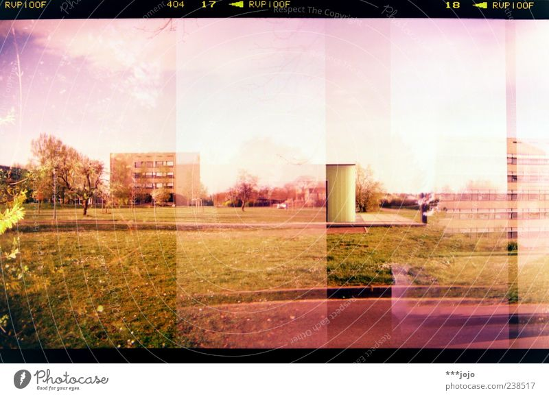 Nature City House (Residential Structure) Landscape Building Park Pink Concrete High-rise Retro Lawn Violet Manmade structures Analog Double exposure Lomography