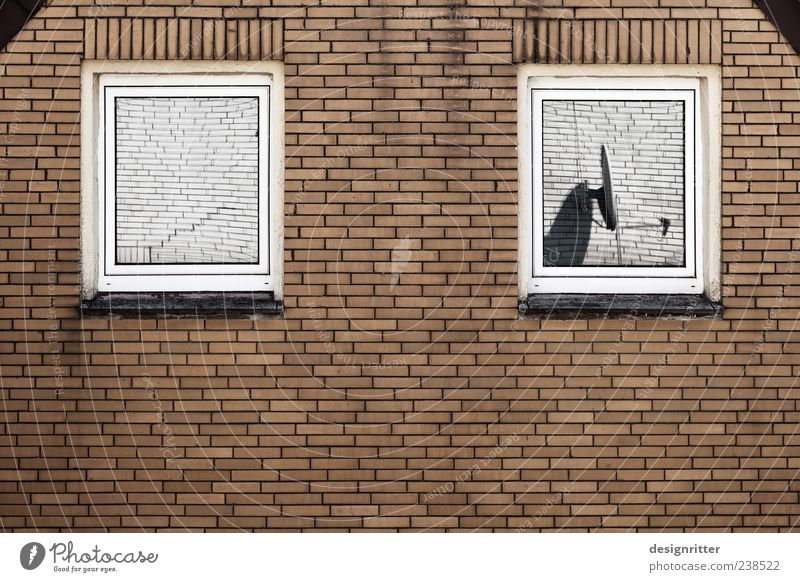 House (Residential Structure) Loneliness Window Dark Wall (building) Stone Wall (barrier) Facade Dirty Vantage point Antenna Frustration Blind Detached house View from a window Vision