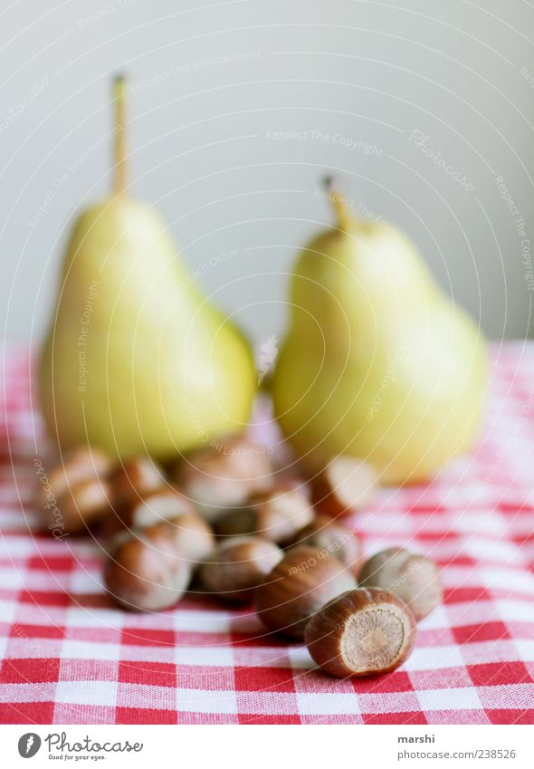 Red Brown Fruit Nutrition Food Still Life Checkered Tablecloth Pear Arranged Hazelnut