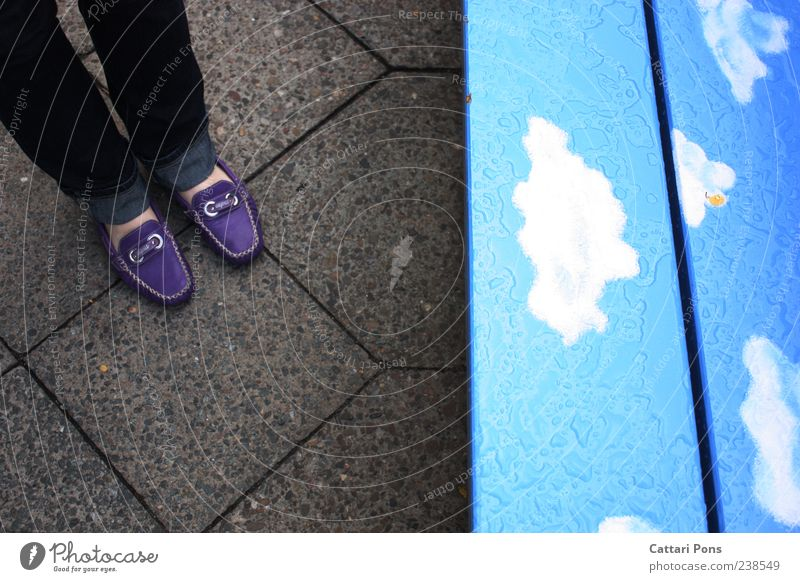 lower level Sky Clouds Footwear Ballerina Stand Bench Rain Wait Wet Ground Stone Wood Division Violet Blue Paving tiles Jeans Colour photo Exterior shot Day