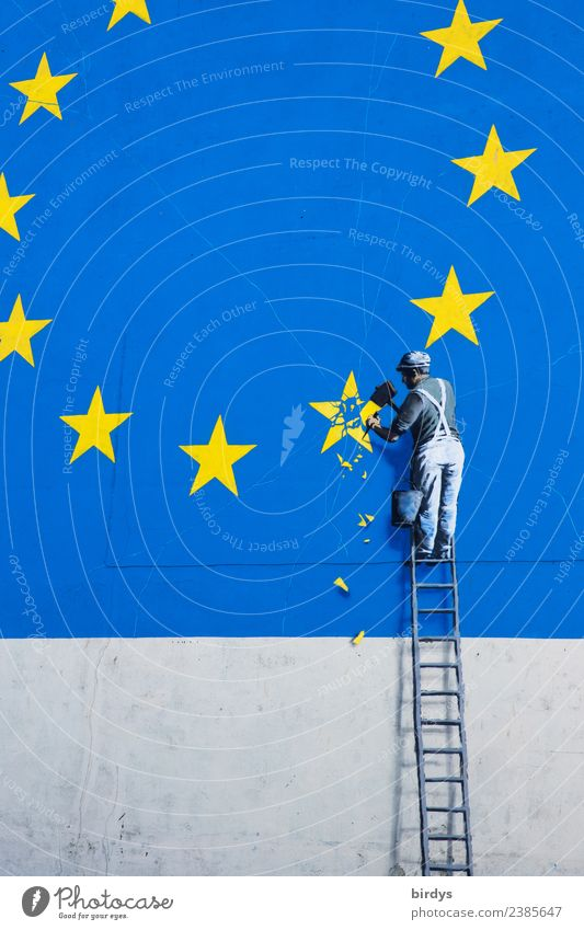 Graffiti Brexit, Eu exit Craft (trade) Man Adults 1 Human being Dover Facade Sign European flag Work and employment Authentic Funny Blue Yellow Brave