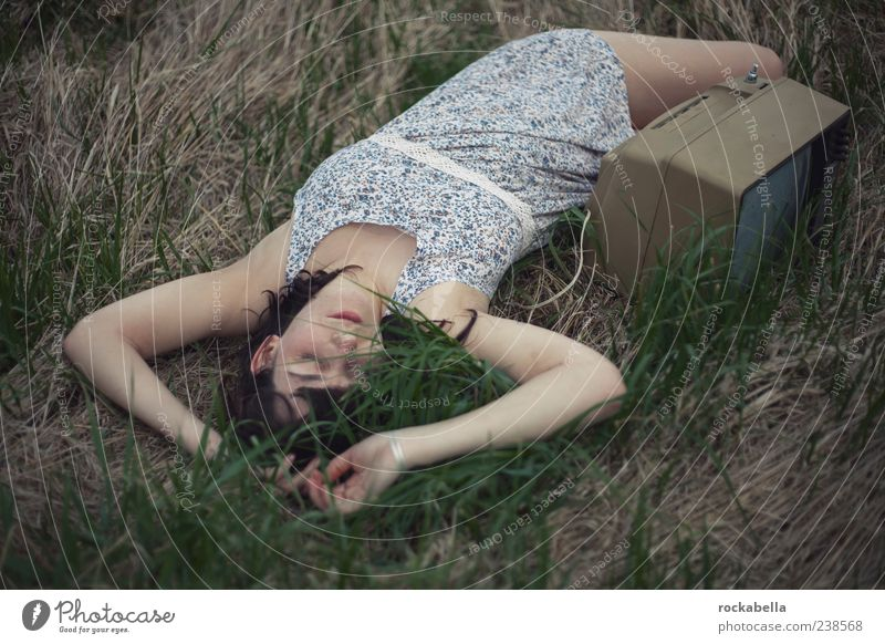 Nature Youth (Young adults) Summer Loneliness Adults Relaxation Meadow Feminine Grass Dream Lie Young woman 18 - 30 years Sleep Retro Uniqueness