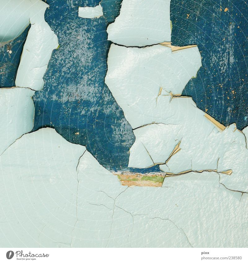 landscape Old Dirty Trashy Gloomy Blue Turquoise Light blue Flake off Dye Plaster Wall (barrier) Wall (building) Remainder Friction Derelict Colour photo