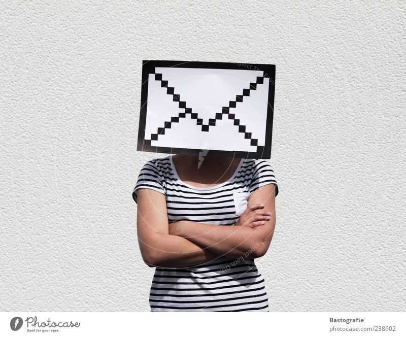 Feminine Exceptional T-shirt Internet Symbols and metaphors Information Contact Letter (Mail) Mail Design Email Striped Mailbox Pictogram Envelope (Mail) Pixel