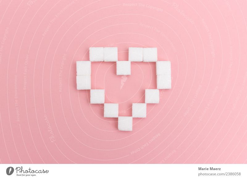 Zuckerliebe - Heart of sugar cubes Sugar Feasts & Celebrations Eating Love Esthetic Exceptional Delicious Sweet Pink White Vice Happy Enthusiasm Longing