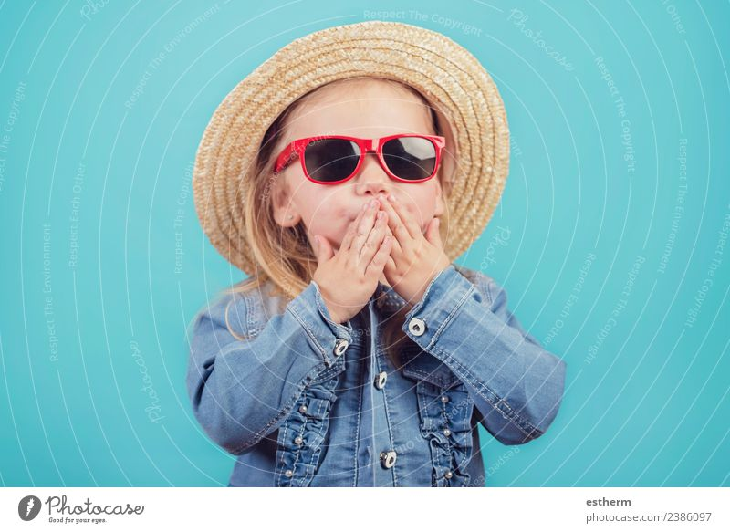 baby with hat and sunglasses Child Human being Vacation & Travel Joy Girl Lifestyle Emotions Feminine Laughter Tourism Trip Infancy Smiling Happiness Adventure