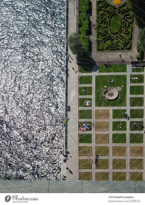 Swedish order Vacation & Travel Human being Group Stockholm Places Relaxation Symmetry Colour photo Exterior shot Day Central perspective Park Bird's-eye view