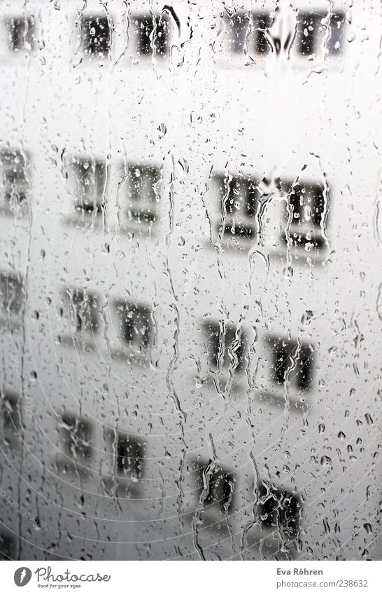 rain Window pane Environment Water Drops of water Weather Bad weather Rain House (Residential Structure) Facade Concrete Glass Wet Gray Loneliness