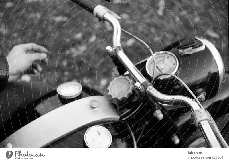 eagle Motorcycle Sixties Scooter Speedometer Hand Old fashioned Chrome Lamp Door handle Transport Bicycle handlebars Black & white photo Tank Brakes