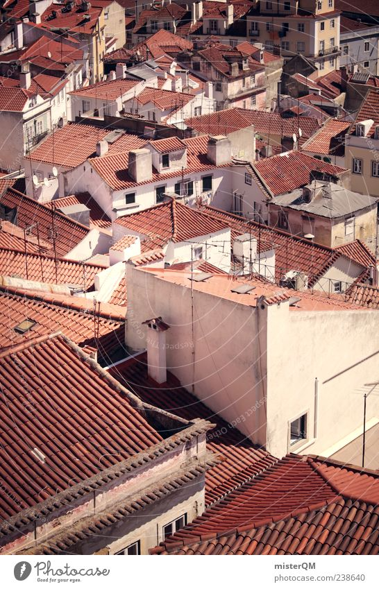 Vacation & Travel City Esthetic Roof Many Idyll Narrow Alley Full Portugal Mediterranean South Lisbon Detached house Settlement Populated