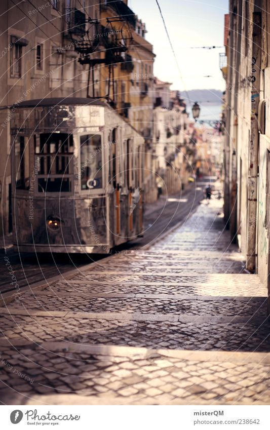 Vacation & Travel Street Esthetic Cobblestones Harmonious Alley Portugal Old town Mediterranean Tram Lisbon Roadside Decent Transport Pattern Lanes & trails