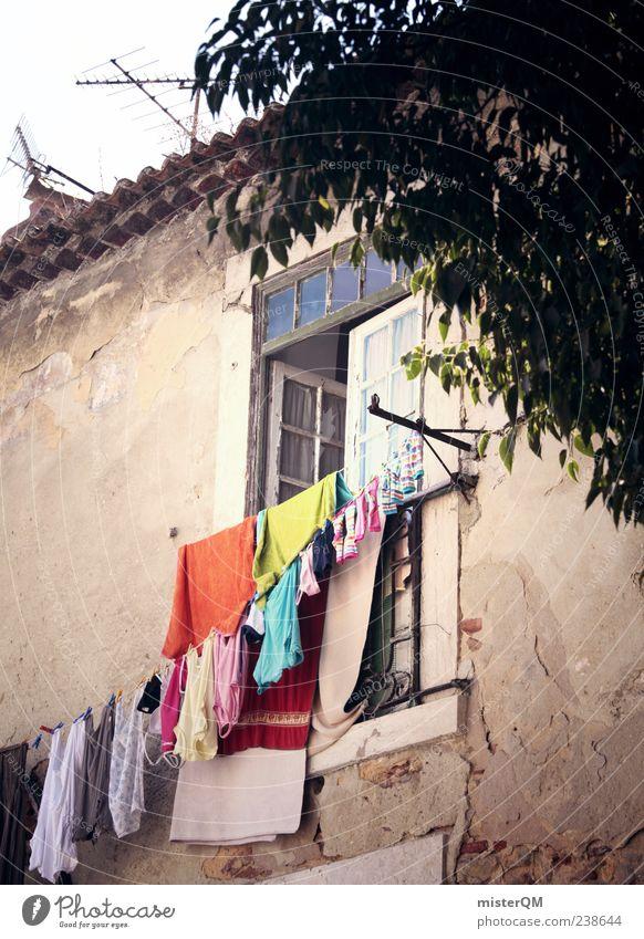 Mediterranean everyday life. Village Portugal Lisbon Washing day Laundry Window Facade Clothesline Vacation & Travel Vacation photo Vacation mood