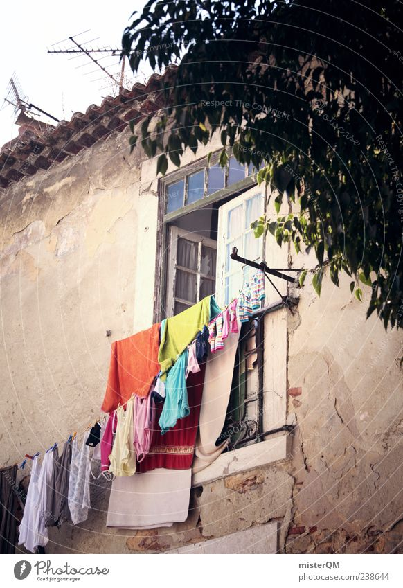 Vacation & Travel Window Facade Village Washing Laundry Alley Clothesline Portugal Mediterranean Photos of everyday life Lisbon Washing day Tumbledown Moody