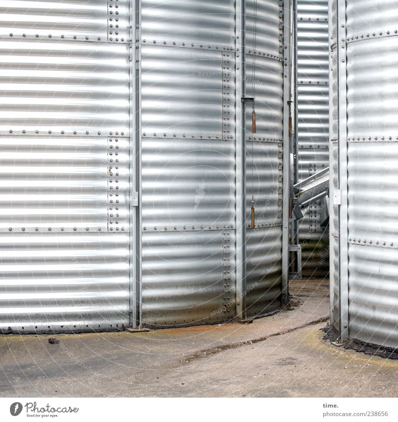 canned food Workplace Places Container Large Bright Round Silver Arrangement Symmetry Environment Silo Silver gray Closed Wide Groove Striped Parallel Passage