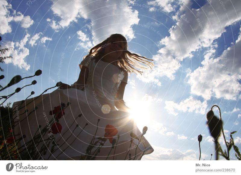 Sky Child Nature Plant Summer Sun Clouds Girl Joy Grass Happy Dream Park Infancy Dance Beautiful weather
