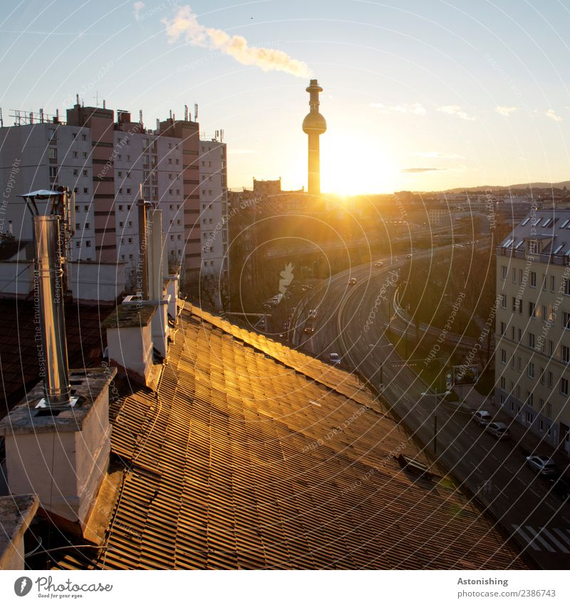 roof Sky Clouds Sun Sunrise Sunset Beautiful weather Vienna Austria Town Capital city House (Residential Structure) High-rise Factory Bridge Tower