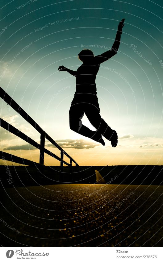 Human being Sky Nature Youth (Young adults) Clouds Adults Relaxation Landscape Street Lanes & trails Freedom Style Dream Flying Exceptional Masculine