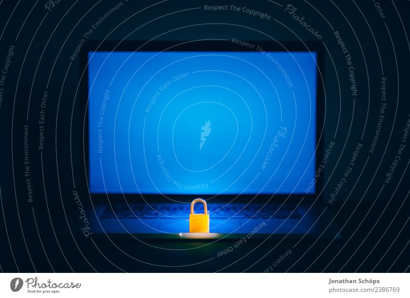 Blue Black Copy Space Europe Safety Symbols and metaphors Mysterious Laws and Regulations Screen Wooden table Data storage Private May Password Data protection
