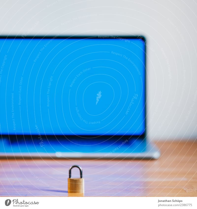 Blue Copy Space Europe Safety Symbols and metaphors Mysterious Laws and Regulations Screen Wooden table Data storage Private May Password Data protection