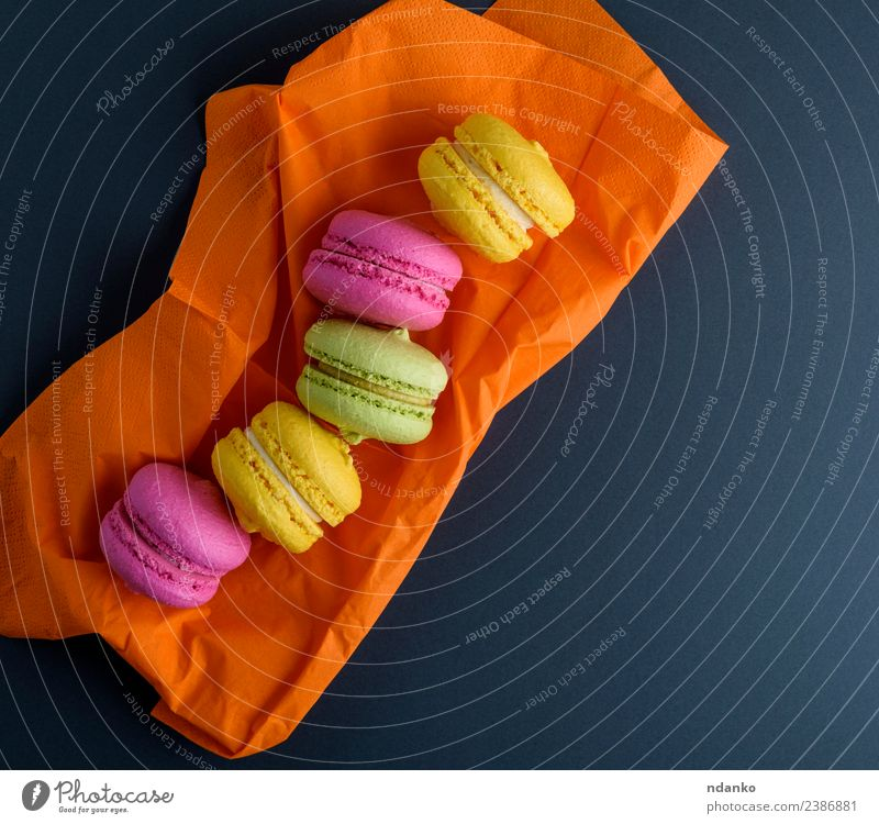 multicolored macarons Dessert Candy Eating Bright Yellow Green Pink Black Colour Macaron background food colorful Vanilla french cake Vantage point Top sweet