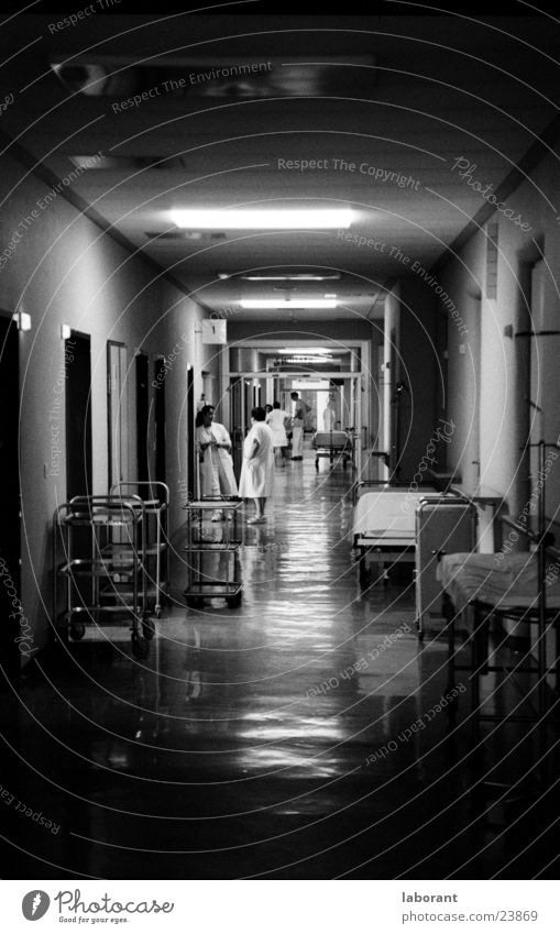 at night, when everything is asleep Hospital Hallway Night Light Lamp Dark Human being Black & white photo emergency service Carrying Corridor